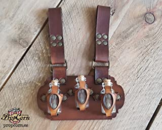 Belt Potion holder for 3 small bottles. Made of veg leather for adventurers, steampunk, alchemist, healers, cosplay or just to keep spices. (Dark Brown & Brown)
