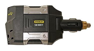 STANLEY PCA120 Power Inverter 120W Car Converter: 12V DC to 120V AC Power Outlet with USB Port