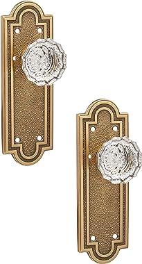 Belmont Plate Set with Astoria Crystal Door Knobs Privacy Antique Brass. Doorsets.