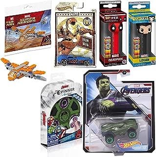 Hot Wheels Incredible-Loot Set Marvel Hulk Character Car Bundled with Loot Marvel + Figure Head Logan VS Deadpool Pez + Iron Man Die-Cast & Build Avengers Guardians Ship 3 Items