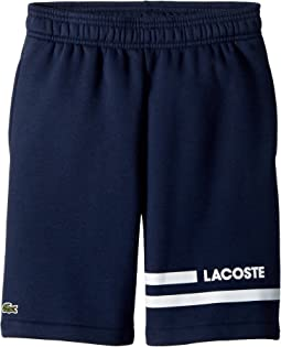 Lacoste Kids - Raised Fleece Sport Stripes Shorts (Toddler/Little Kids/Big Kids)
