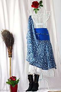 """Kalima-Design der bayrischen Inderin Kalima Midi Rock """"bayrisches Meer"""", Handdruck mit Naturfarben auf 100% Baumwolle. Der Perfekte Schnitt für jede Frau! Maß- Anfertigung mit Stoff Bund oder Stretch Bund"""