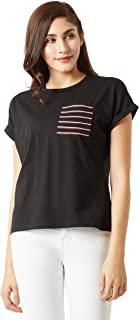 Miss Chase Women's Short Sleeves Round Neck Loose Fit Cotton Tee/Top/T-Shirt
