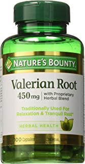Nature's Bounty Natural Whole Herb Valerian Root, 450mg Capsules, 100 Count