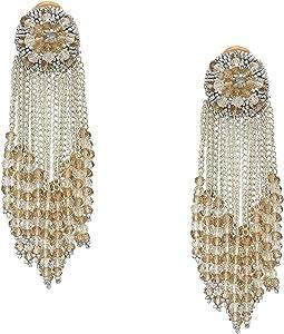 Chain Cluster Beaded C Earrings