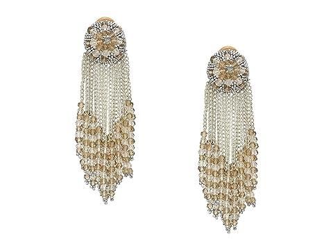 Oscar de la Renta Chain Cluster Beaded C Earrings