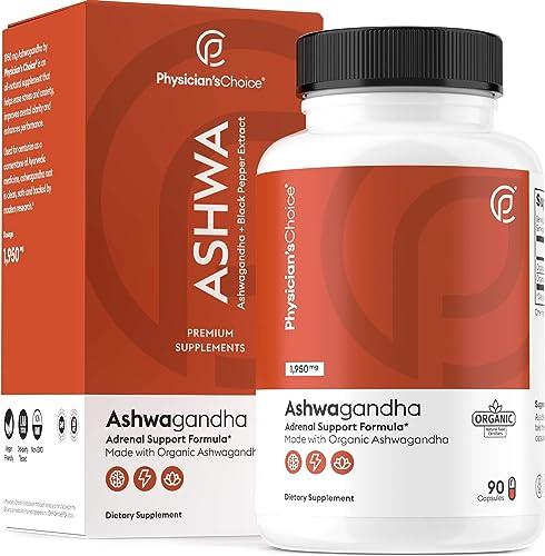 Ashwagandha 1950mg Organic Ashwagandha Root Powder with Black Pepper Extract, Stress Relief, Mood Support, 90 Veggie ...