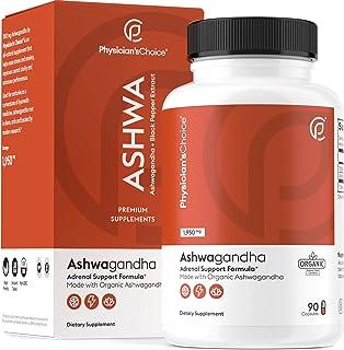 Ashwagandha 1950mg Organic Ashwagandha Root Powder with Black Pepper Extract, Stress Relief, Mood Support, 90 Veggie Ashwa...