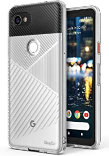 Ringke Bevel Compatible with Google Pixel 2 XL Grip Enhanced Diagonal Line Pattern TPU Form Fitting Drop Resistant Defense Minimalism Design Cover Google Pixel 2 XL Case - Clear
