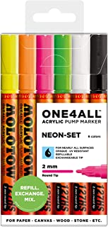 Conjunto de marcadores de tinta acrílica Molotow ONE4ALL, 6 Neon Colors, 2mm