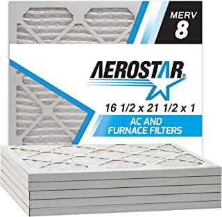 Aerostar 16 1/2x21 1/2x1 MERV 8 Pleated Air Filter, Made in the USA, 6-Pack