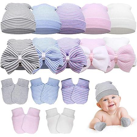 Newborn Baby Hat and Mittens Set Beanie Bow-Knots Hat Knit Cap Scartch Mittens with wrist Cuffs