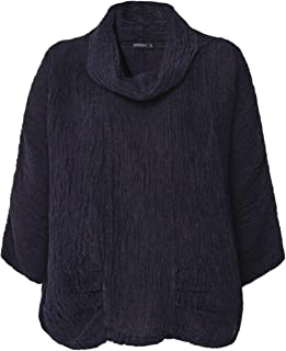 Grizas Women's Embossed Linen and Silk Cowl Neck Top Purple