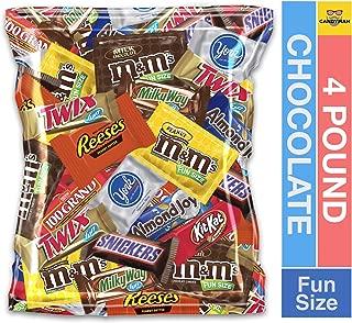 (4 Pound) Variety Assortment Chocolate Mix Bulk Pack M&M's Peanut, M&M's Plain, Reese's Peanut Butter Cups, Snickers, Kit Kat,Twix, Milky Way, Almond Joy, 100 Grand,York Peppermint Patties