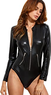 Verdusa Women's Long Sleeve Faux Leather Zip Detail Bodycon Clubwear Bodysuit