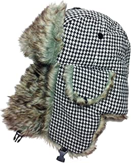Womens Lined Aviator Style Furry Winter Hat With Earflaps - Houndstooth Black and White