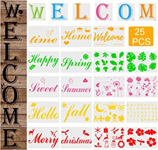 25 PCS Welcome Sign Stencils Set for Painting on Wood - BUSOHA Large Welcome Sign Flower Leaf Butterfly Alphabet Reusable ...