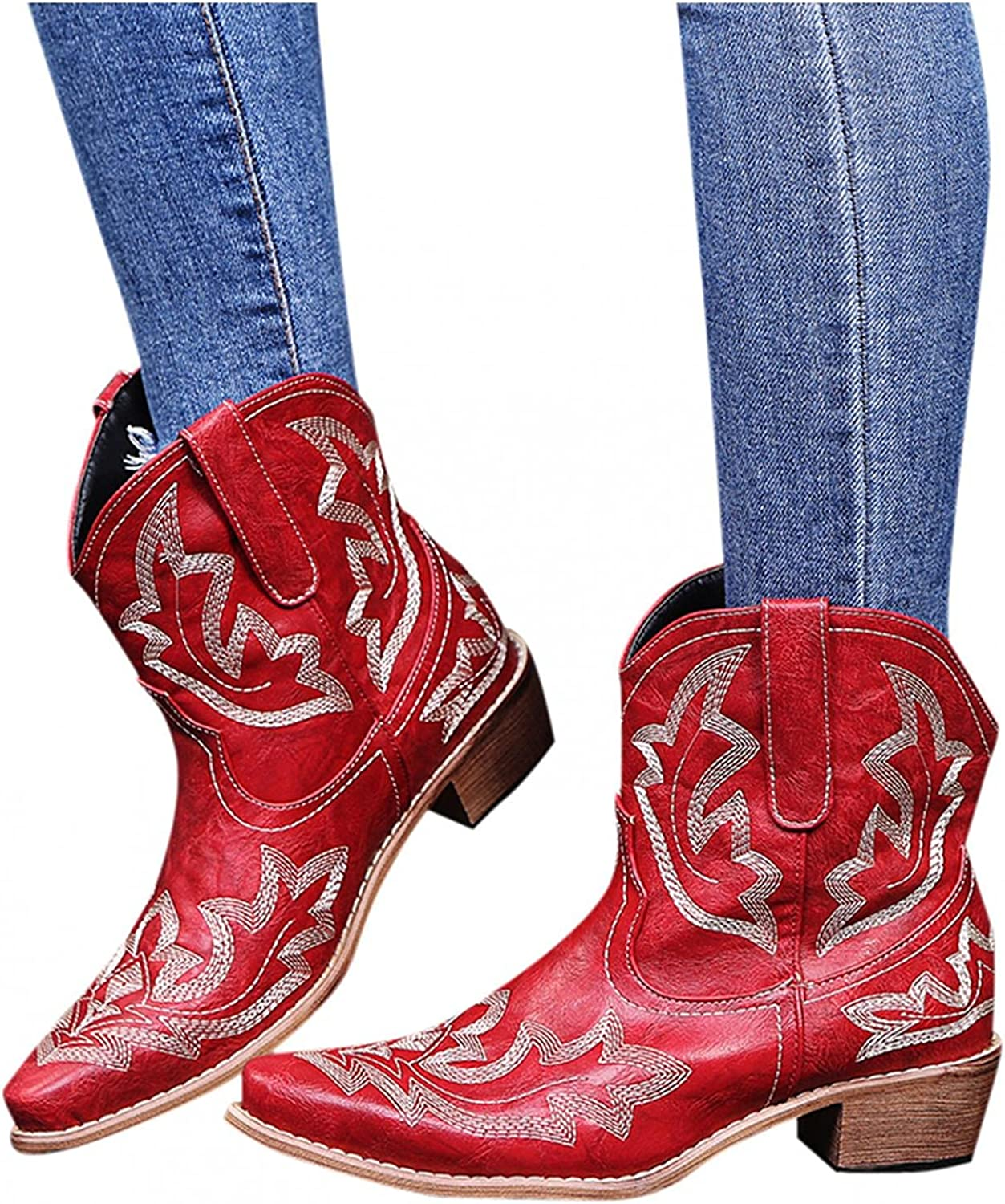 Zieglen Women's Winter Boots, Women's Boots with Retro Pattern Short Cowboy Boots Western Boots Snow Boots Motorcycle Boots
