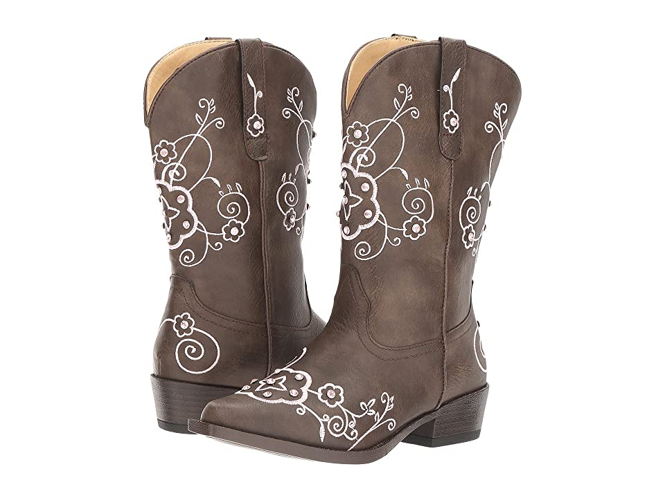 Roper Kids Flower Sparkles (Toddler/Little Kid) (Brown Faux Leather Vamp & Shaft) Cowboy Boots