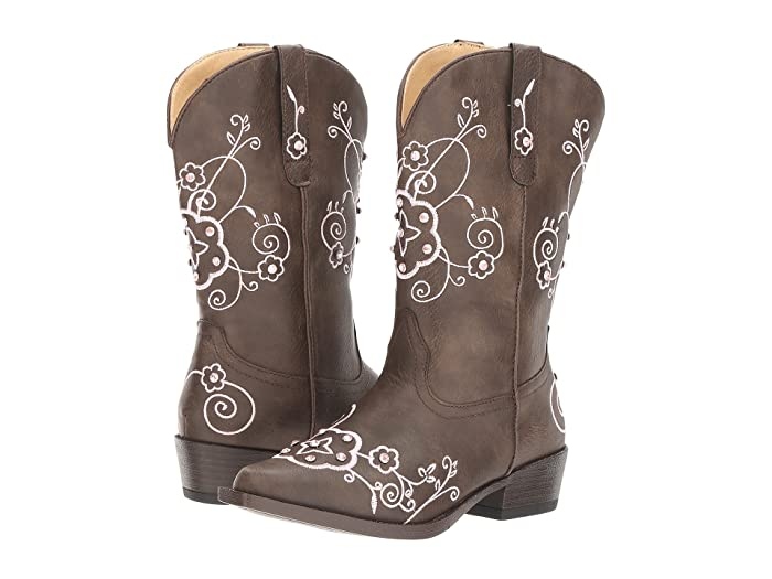 Roper Kids  Flower Sparkles (Toddler/Little Kid) (Brown Faux Leather Vamp and Shaft) Cowboy Boots
