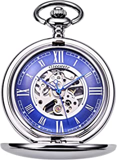 Pocket Watch - Smooth Double Case Series Skeleton Dial Delicate Mechanical Movement with Chain, Silver