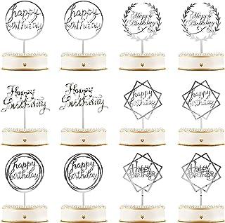 12 Pièces Topper de Gâteau de Joyeux Anniversaire Topper de Cupcake d'Anniversaire en Acrylique Décorations de Pics de Gât...
