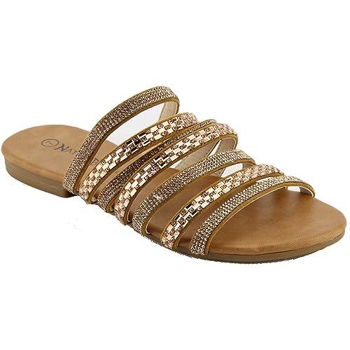 c69a26fcc Nature Breeze Women s Rhinestone Slide Flat Sandals