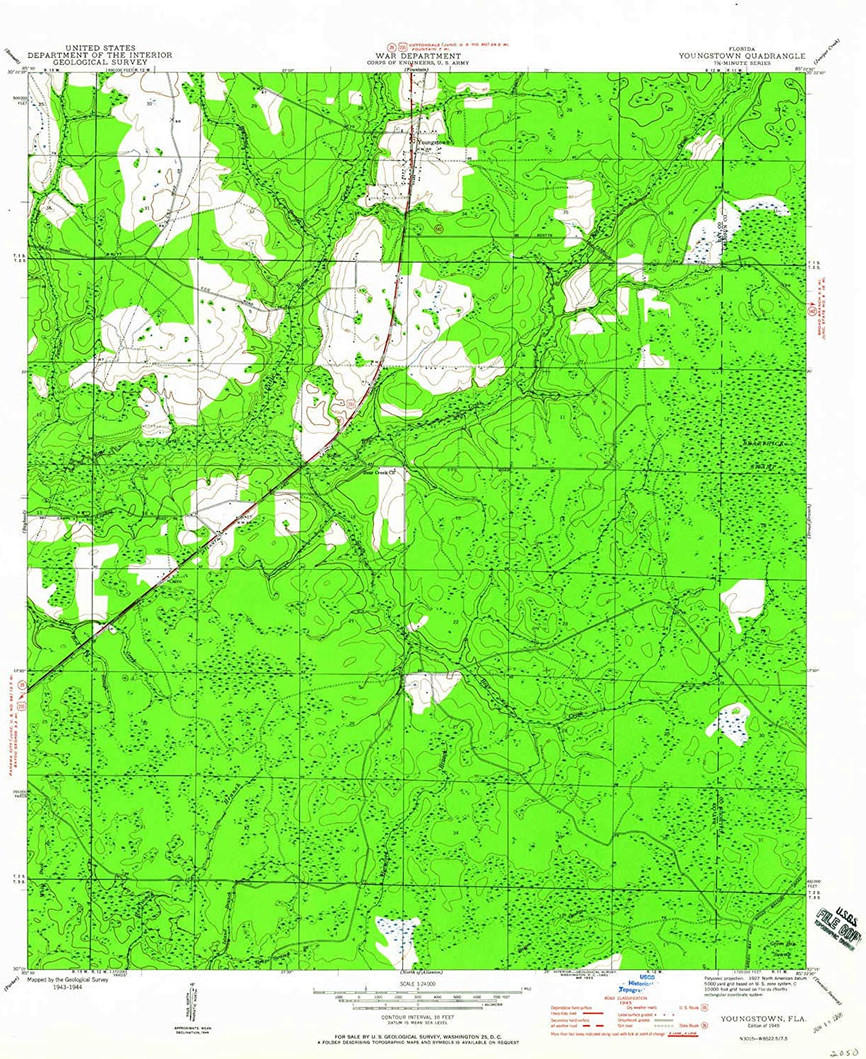 Youngstown FL topo map, 1 24000 Scale, 7.5 X 7.5 Minute, Historical, 1945, Updated 1960, 26.8 x 22.9 in