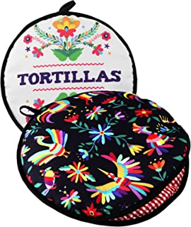 "TWO SIDED! Tortilla Warmer, Size 11"" Insulated and Microwaveable, Fabric Pouch Keeps.."