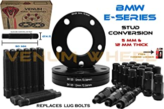 Full Set Of Black Staggered (2) 5mm + (2) 12mm Thick Wheel Spacers + Black 12x1.5 Racing 90mm Stud Conversion Kit Works With BMW E36 E46 E90 E92 E64 E23 E32 E38 E31 128i 1M 328I 330i 525i 540i 635i 73