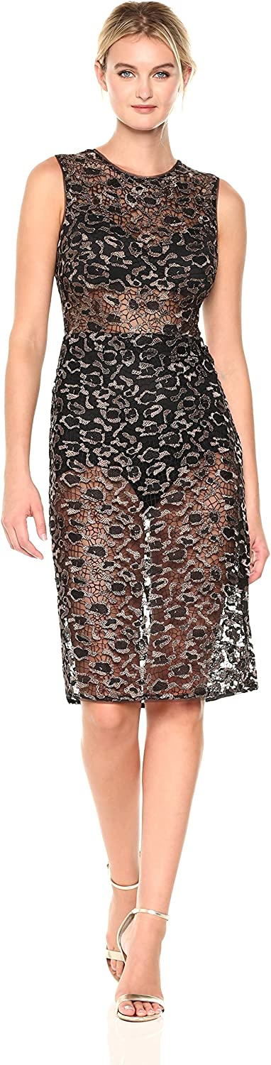 BCBGMAXAZRIA Womens Riley Woven Metallic Illusion Dress Dress