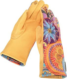 CIRCLE FLORAL BLOSSOM on Marigold MicroSuede Women's Gloves