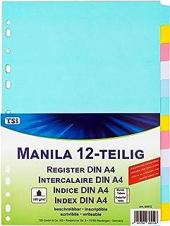 TSI 64512 Lot de 12 intercalaires en carton manille solide avec onglets multicolores