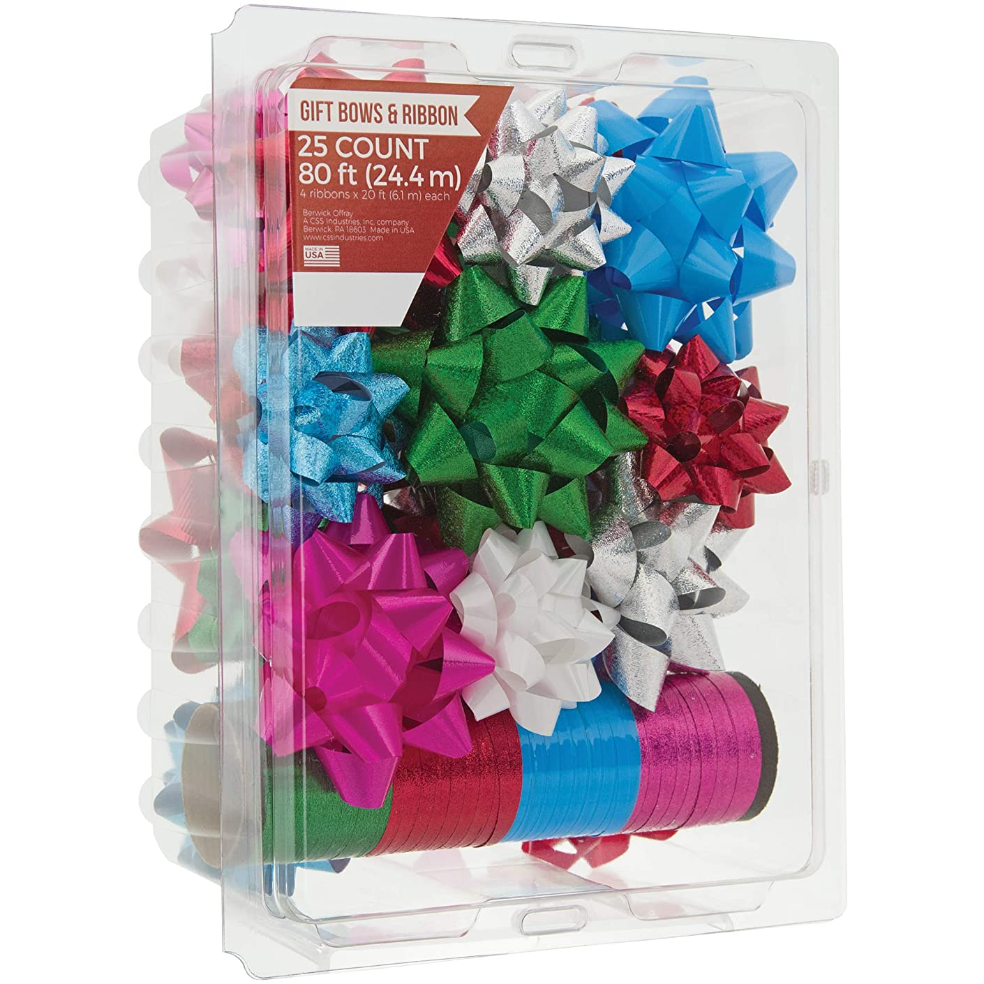 Berwick Offray Assorted Colors All Occasion, Birthday, and Christmas Bows and Christmas Ribbon, 25 Bows and 80 Feet of Ribbon