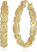 Gold Plated Sterling Silver Filigree Round Hoop Earrings