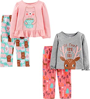 Simple Joys by Carter`s Toddler Girls` 4-Piece Fleece Pajama Set (Poly Top & Fleece Bottom)