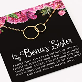 Bonus Sister Necklace • Two Connected Circles • 14k Gold Fill • Sister in law • Bride or Groom Sister • Adopted • Stepsister Best Friend • Friendship Love Gift • Appreciation Gratitude Jewelry