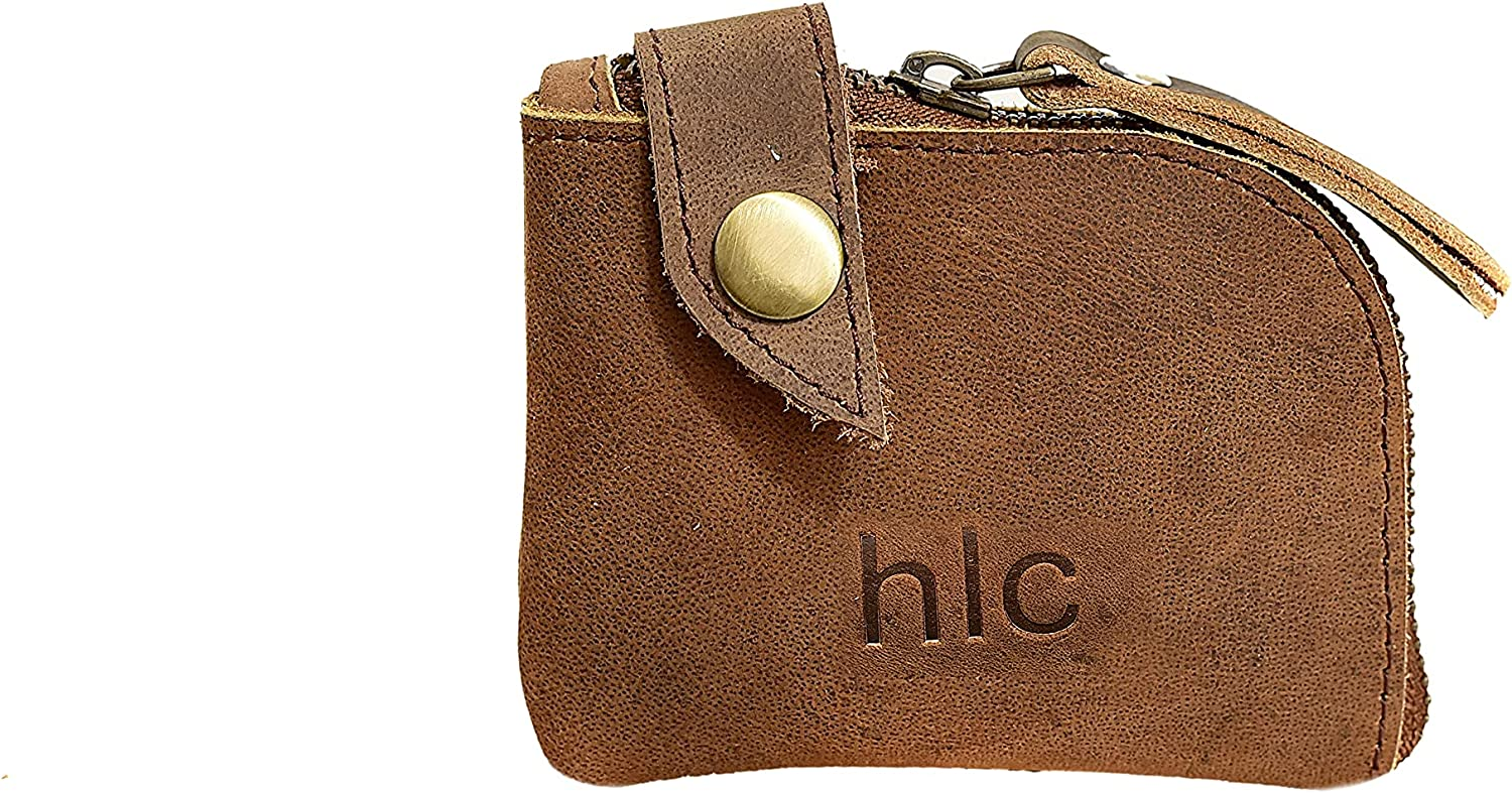 cuero Overseas parallel import regular item Challenge the lowest price Leather Zipper Pouch Coin Purse Cash Cable Organizer