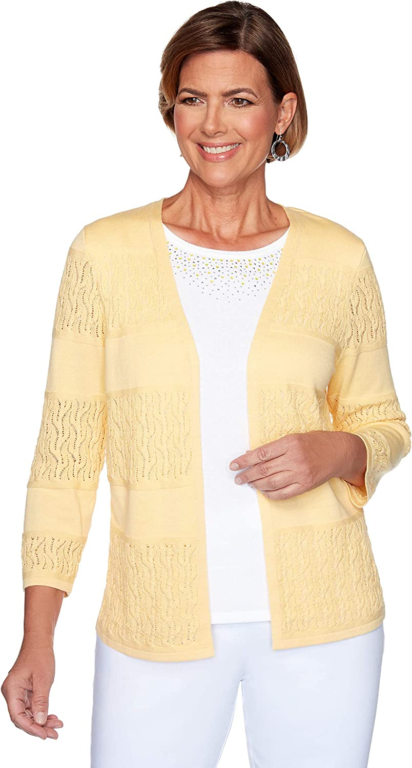 Alfred Dunner Spring Cardigan Yellow (Size 3X)