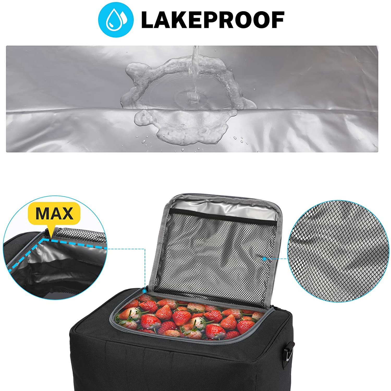 Cargo Trunk Organizers and Storage Befano Car Trunk Organizer with Cooler Non-Slip Waterproof Bottom 3 Compartments with Cooler, Black Foldable Lid