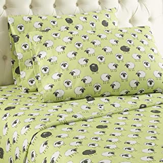 Micro Flannel Shavel Durable & Luxurious Printed Sheet Set Twin, Flat/Fitted Sheet 66x96/75x39x14; Pillowcase 21x32 - Sheep Green.