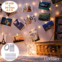 Photo Clip String Lights 20 LED Lights for Bedroom Light Decor, Picture Hanging Decoration with Decorative Mini Clip Clothespins Photo Lights Hang Artwork Wall Indoor Warm Fairy Light Battery Operated