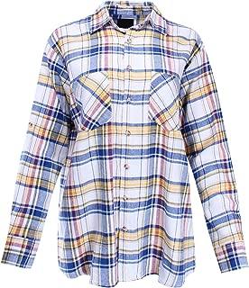 Women's Boyfriend Shirt Flannel Plaid Button Down One Size