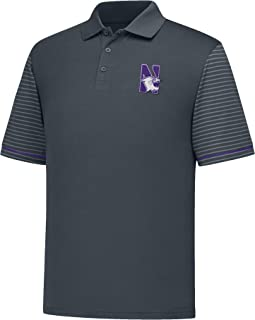 J America NCAA Northwestern Wildcats Men's Linebacker Ii YB Dyed Color Bock Polo Shirt, Medium, Charcoal/Purple