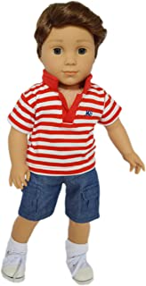 Brittany's My Red Polo Set Compatible with American Girl Boy Dolls- 18 Inch Boy Doll Clothes
