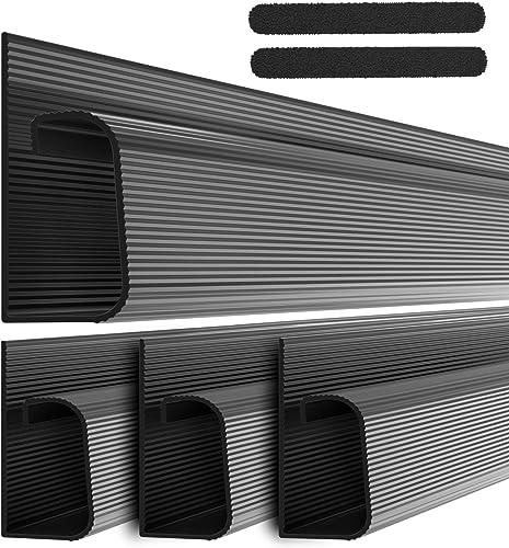 J Channel Cable Raceway Kit - Computer Desk Cable Management System - 4x16'' Black Under Table Cable Management Trays...