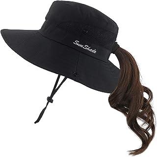 日よけ帽子 レディース帽子 UVカット ポニーテール アウトドア帽子 サファリハット 作業用 自転車用帽子 つば広 レディースキャップ 折りたたみ可 2way仕様 ブラック