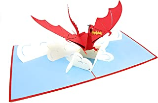 PopLife Red Flying Dragon 3D Pop Up Father's Day Card - Pop Up Happy Birthday Card, Congratulations, Get Well, Just Because - Mythical Animal, Fantasy Card, GoT, Magical Gift, LoTR - for Son, for Dad