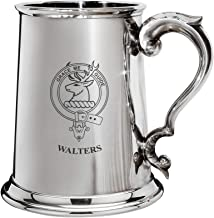 Walters Family Crest Polished Pewter 1 Pint Tankard with Scroll handle
