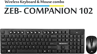 Zebronics Companion 102 Wireless Keyboard and Mouse Combo with Rupee Key  Black